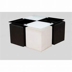 Table Basse 4 Poufs : table basse neva 4 poufs noir et blanc achat vente table basse table basse neva 4 poufs ~ Teatrodelosmanantiales.com Idées de Décoration