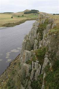 Steep cliffs and lake Crag Lough, looking east