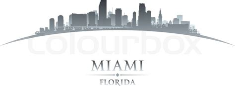 miami florida city skyline silhouette vector illustration