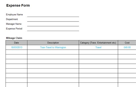 Business Expense Form Template