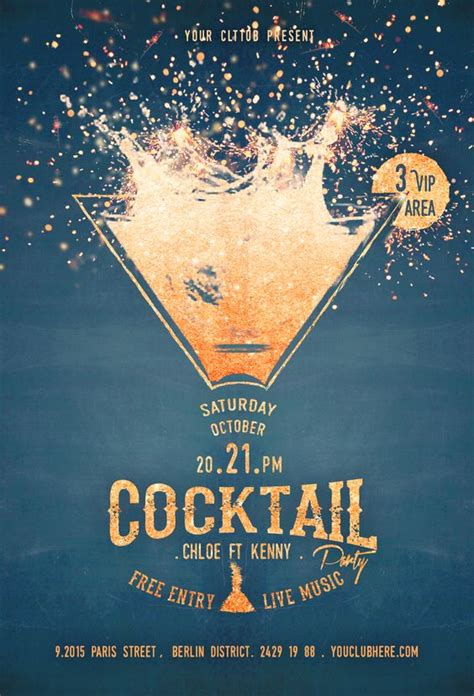 Cocktail Party Flyer Template  Copper, Turquoise And Glitter
