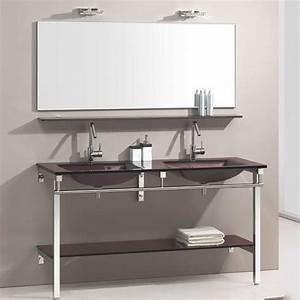 Meuble Salle De Bain Marron : meuble de salle de bain en verre marron aida ~ Dailycaller-alerts.com Idées de Décoration