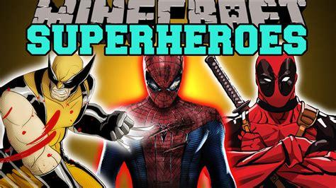 minecraft superheroes spiderman wolverine deadpool