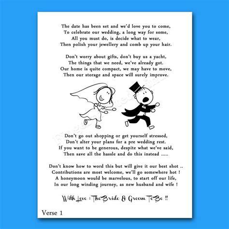 Wedding Cash Money Voucher Request Poems For Invites Cheap