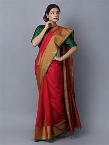 Buy Red Cotton Silk Handwoven Banarasi Saree Online At Theloom