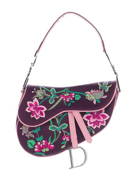 christian dior embroidered saddle bag handbags chr  realreal