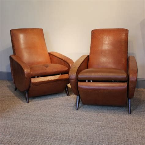 Comfortable Armchairs by Comfortable Pair Of 1950s Reclining Leather