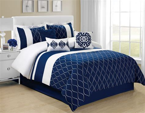 Bedroom Navy Blue Comforter With Coral Pattern For