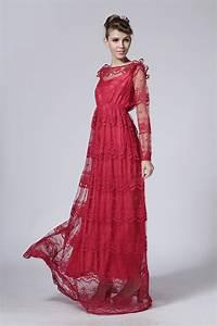 Robe Longue Style Boheme : robe tres longue dentelle rouge boho boheme chic ~ Dallasstarsshop.com Idées de Décoration