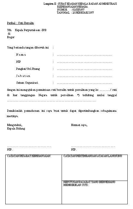 contoh surat cuti melahirkan informasi seputar dunia