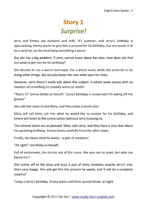 english short stories  beginners