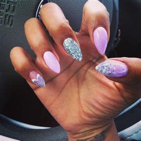 almond shaped nails purple glitter nailart