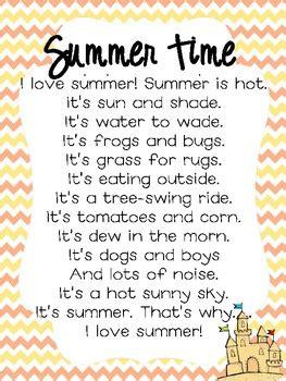 Summer Time Poem  Literacy  Pinterest  Summer Poems