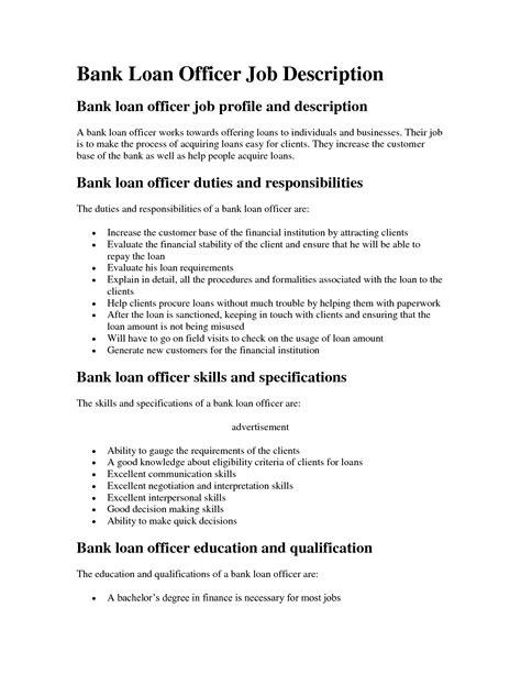 mortgage loan officer description sle