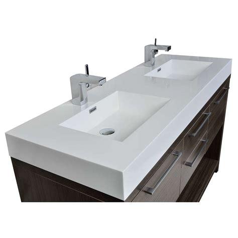 gray double sink vanity buy lodi 57 inch contemporary double sink vanity in grey
