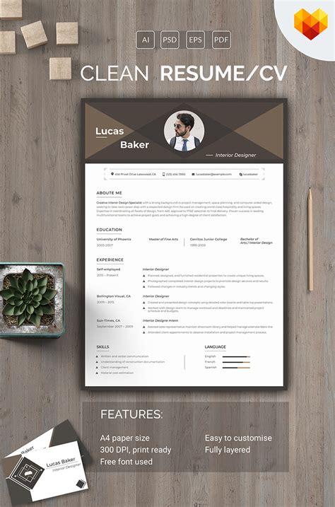 lucas baker interior designer resume template