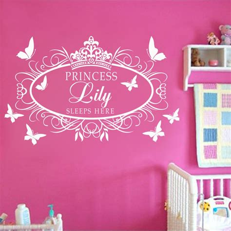 stikers chambre fille wall design ideas apllied princess crown wall