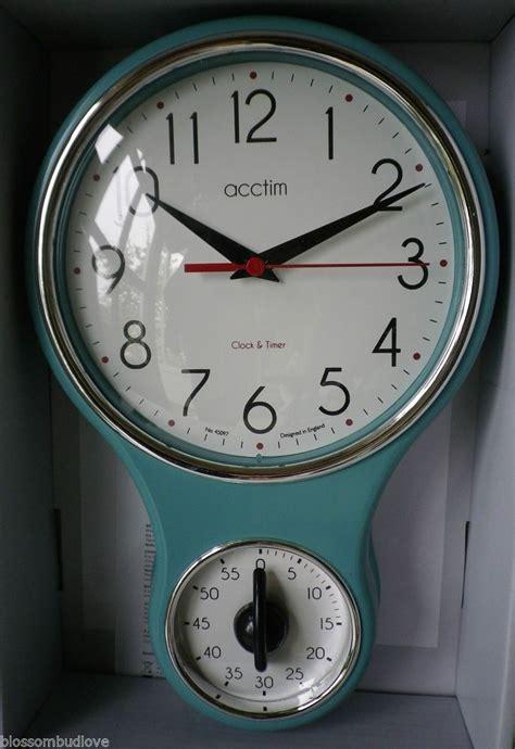 vintage retro  style duck egg blue kitchen wall clock