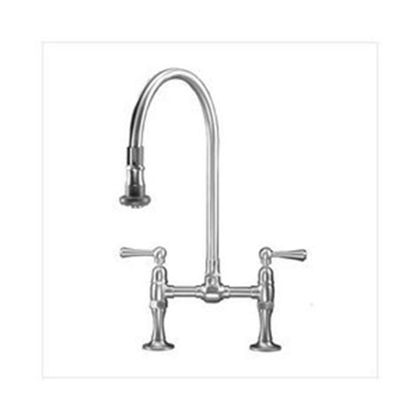 Bridge Kitchen Faucet with Pull Down Spray and Metal Wheel