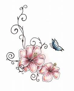 Amazing Two Hibiscus Flower With Butterfly Tattoo Design ...