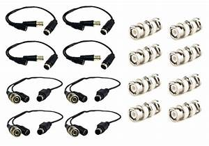 8 Pcs Male Female Cctv Security Camera Din