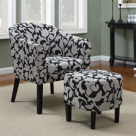 black and white barrel back accent chair with ottoman