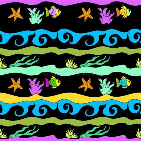 undersea seamless childish pattern stock illustration