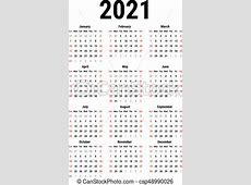Calendário, 2021 Semana, simples, começa, branca