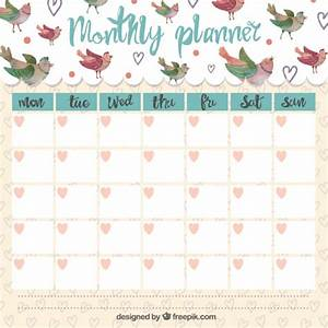 Cute monthly planner with singing birds Vector Premium Download