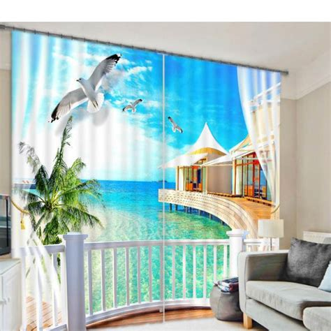 seascape 3d curtains for living room window treatments