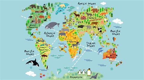 Kitchen Colour Scheme Ideas - cartoon world map custom wallpaper