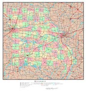 Missouri State Road Map with Cities