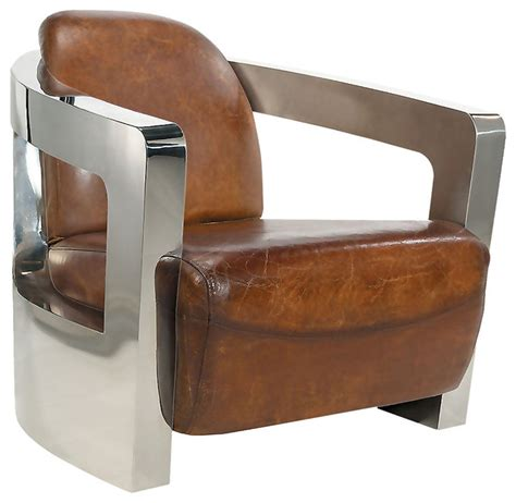 club chair brown leather with stainless steel