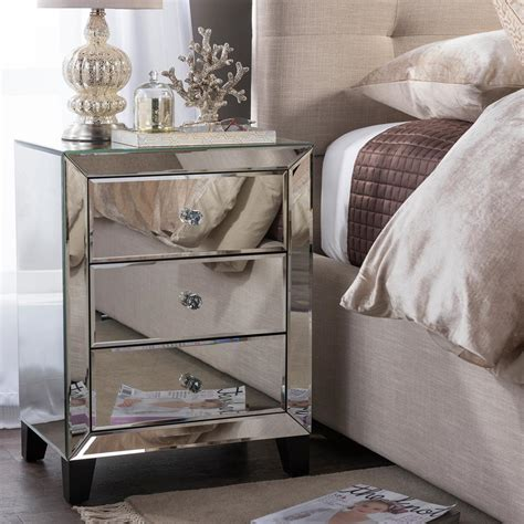 Mirrored Nightstand by Baxton Studio Chevron 3 Drawer Silver Mirrored Nightstand