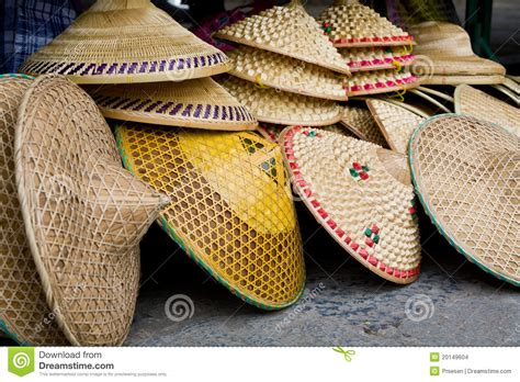 stack  chinese rice farmers conical straw hats stock photo image