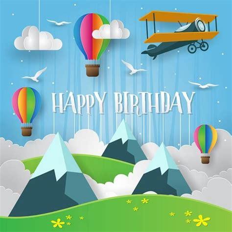 paper art style happy birthday card illustration birthday