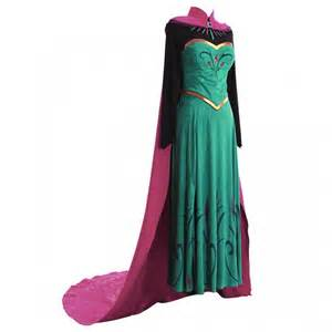 Adult Princess Elsa Dress Disney's Frozen Snow Party Cosplay Costume with Cape