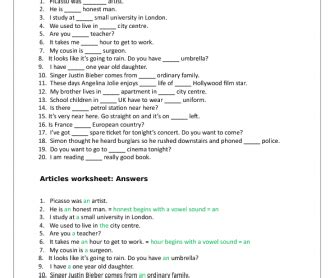 articles worksheet for grade 3 breadandhearth