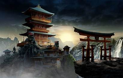 Temple Concept Mysterious Palace Fantasy Oriental Wallpapers