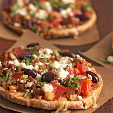 Greek Pita Pizzas Recipe - EatingWell