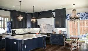 Navy blue cabinets french kitchen cote de texas for Kitchen cabinet trends 2018 combined with navy blue and white wall art