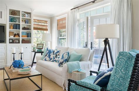white sofa  turquoise velvet pillows cottage