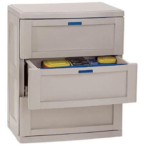 Plastic Garage Storage Cabinets by Three Drawer Garage Cabinet Taupe In Storage Cabinets