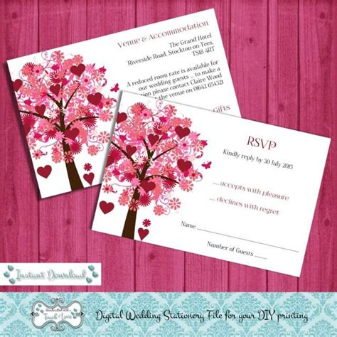 Digital DIY Editable Wedding RSVP / Information Card