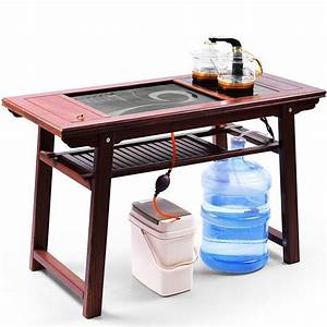 Chinese, Tea, Table, With, Black, Stone, Platform, And, Chairs