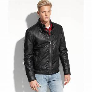 Guess Coats Light Weight Faux Leather Moto Jacket in Black ...