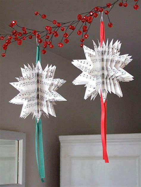 10 beautiful sheet music christmas ornaments you can make