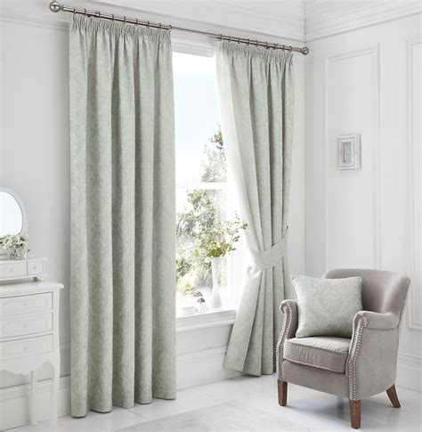 white lined drapes woven damask lined silver blue white pencil pleat curtains