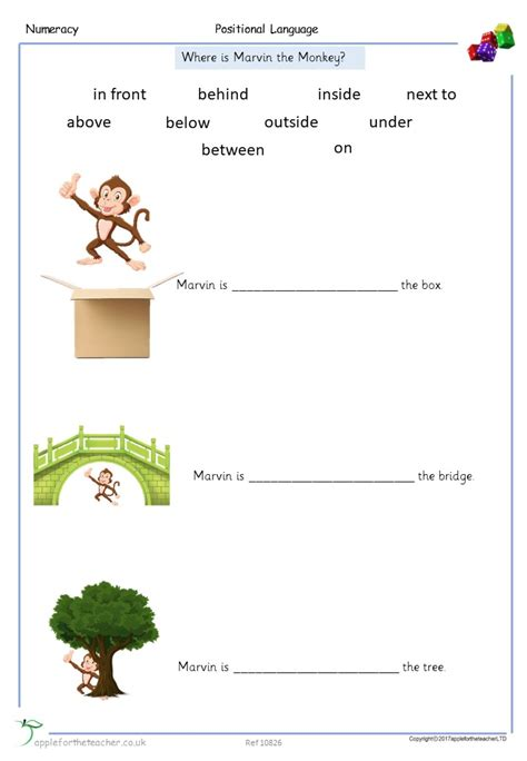 positional language worksheet apple for the teacher ltd
