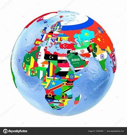 Emea Region Political Flags Globe Isolated Map
